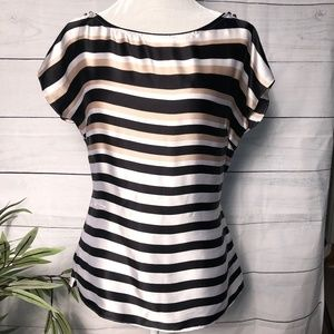 WHBM Silk Black/White/Gold Striped Top - S